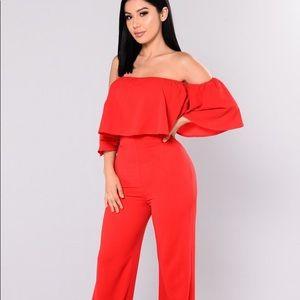 Fashion Nova Lee Flounce Jumpsuit- Red
